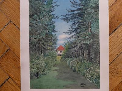 NEZNÁMÝ AUTOR DŮM U LESA 1899 AKVAREL