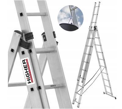 Hliníkový žebřík 3x11 HIGHER Professional 8.45m