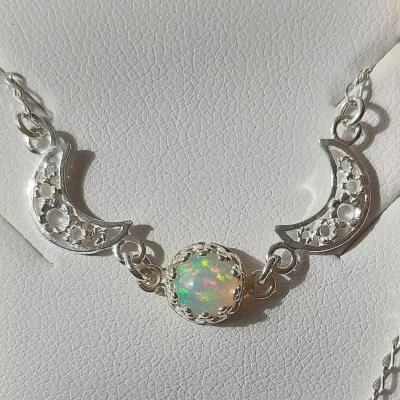 Nový náhrdelník přírodní etiopský opál Ag 925/1000