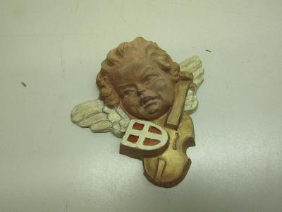 Stará keramická nástěnná plastika andělíčka 2.