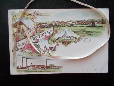 Mělník Kostelec nad Labem litografie koláž cukrovar rafinerie DA