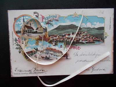 Domažlice Koloveč litografie dlouhá adresa 1900 originál Schwidernoch
