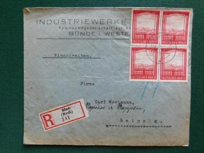R-Dopis - 1942 - Bünde (Westf.) - Deutsches Reich - Německo