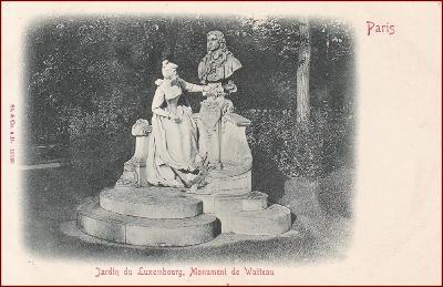Paris * Monument de Watteau, socha, park, Stengel * Francie * Z1131