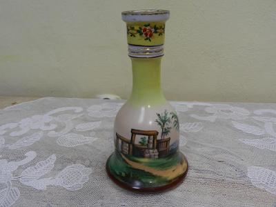 Zajímavá velmi stará ručně malovaná Láhev Karafa Váza Značeno