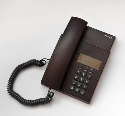 RETRO TELEFON HNĚDÝ TLAČÍTKOVÝ