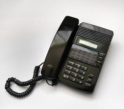 TELEFON +ZÁZNAMNÍK  LELUX 608 - ČERNÝ - ELEGANTNÍ