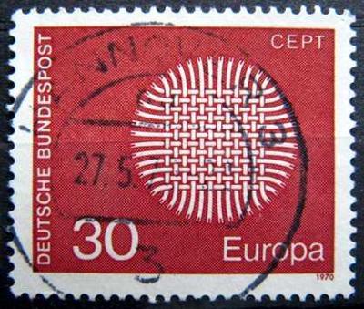BUNDESPOST: MiNr.621 Interwoven Threads 30pf, Europa Issue 1970