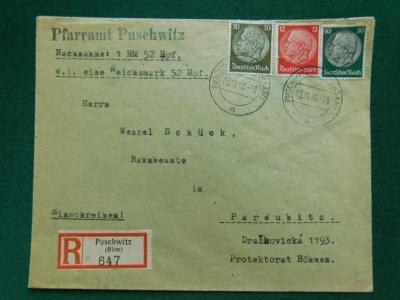 R-Dopis - 1940 - Dobírka - Puschwitz - Pardubice - Deuts. Reich - Sude