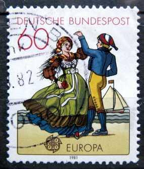 BUNDESPOST: MiNr.1097 Northern German Couple Dancing 60pf 1981