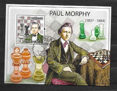 Sao Tomé 2009 - slavný šachista Paul Morphy (1837-1884)