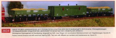 PERESVET 3604 Sada 2 výsypních vozů a služební vůz SZD Ep.IV TT 1:120