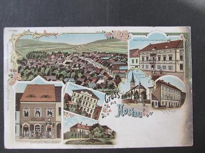 k8607 Hostouň (okres Domažlice) HOSTAU litografie ca. 1900