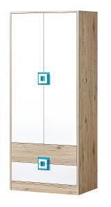 Levná hezká moderní šatní skříň 2D NICO 1 /4 barvy!
