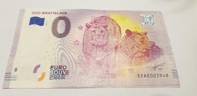 ZOO Bratislava 2019 0 euro 0€ bankovka suvenír