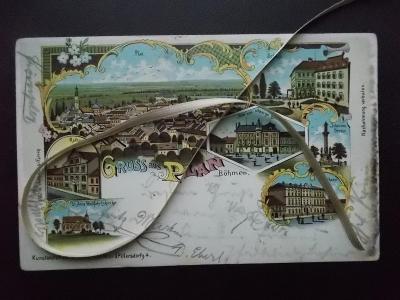 Karlovy Vary Mariánské lázně Planá litografie koláž