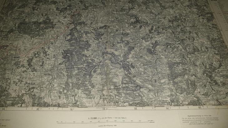 Německá vojenská mapa 1928-SONDERAUSGABE-Jihlava-Třešt-Brtnice-Kamenic - Antikvariát