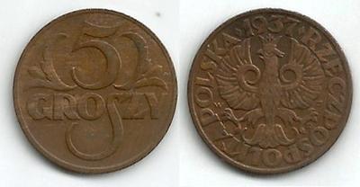 POLSKO - 5 Groszy 1937