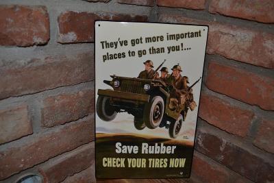 plechová cedule - Save rubber