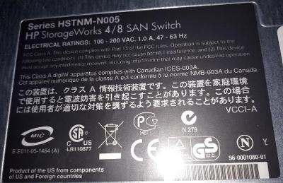 HP StorageWorks 4/8 SAN Switch + 8x JBIG