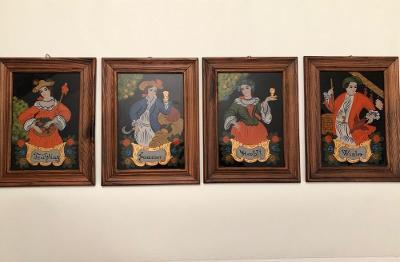 Obraz, Obrázky 4ks, 4 roční období, malba na vnitřní sklo, Rakousko