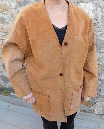 Krásné  semišové sako - kabátek srnčí barva, vel. 44