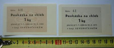 2 x poukázka na chléb 1 kg v kraji severočeském - Série 4 I a 4 H