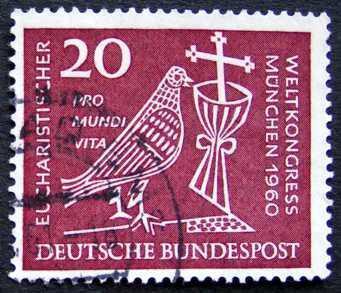 BUNDESPOST: MiNr.331 Dove, Chalice and Crucifix 20pf 1960