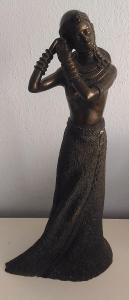 africká soška 40cm ČERNOŠKA EBONIT ART DECO VZÁCNÁ