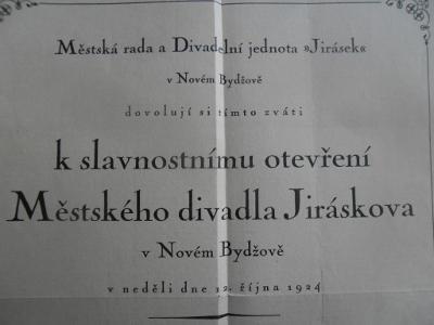 K SLAVNOSTNÍMU OTEVŘENÍ MĚST. DIVADLA JIRÁSKOVA V N. BYDŽOVÉ - 1924
