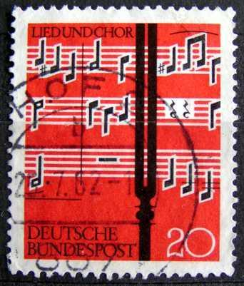 BUNDESPOST: MiNr.380 Notes and Tuning Fork 20pf 1962