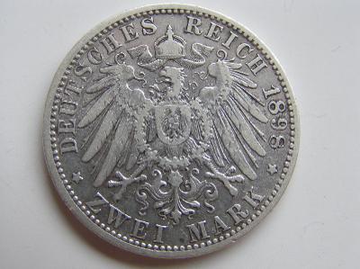 mince 2 marka 1898 D Bayern R!