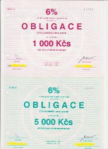 OBLIGACE na 1 000, 5 000 a 10 000 Kčs