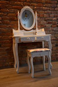 Toaletka, toaletní stolek s taburetem + zrcadlo + gratis