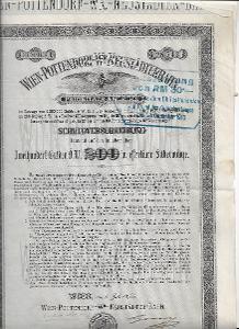 5% půjčka Vídeň Pottendorf víd. Nové Mesto železnice 1875 - 1955 G 200