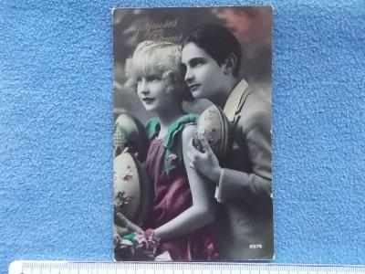 Pohlednice umělecká móda zamilovaný pár láska kolorováno velikonoce
