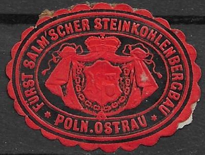 papírová pečeť Slezská Ostrava kníže Salm kamenouhelný důl Pol. Ostrau
