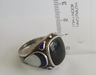 CCCP masivní prsten stříbrný,punc 875, smalt & onyx, průměr 22.5o mm