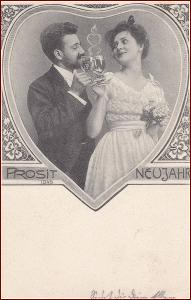 Žena * muž, alkohol, přípitek, čtyřlístek, gratulační * M1915