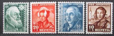 Švýcarsko 1942 Osobnosti a lidové kroje Mi# 412-15 1767