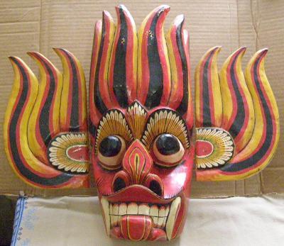 Obřadní maska boha ohně Cejlon dřevěná