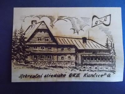 Dřevěná pohlednice dýha Kunčice pod Ondřejníkem OKE chata  Hlinsko