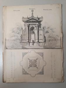 - 32/33 HACAULT, PAYNE -STAVEBNÍ NÁVRHY TISK 1850 - NÁHROBEK -