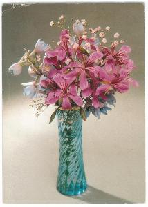 Květina ve váze , prošlá 1991 , 2x razítko Benešov , známka Horácko