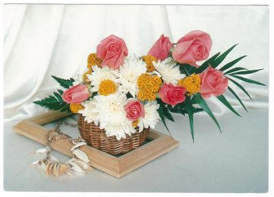 Květina , růže , prošlá , 2x razítko Zábřeh a Olomouc , známka kočky