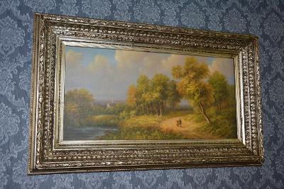 Zámecký obraz-Krajina-olej na plátně