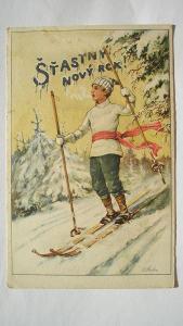 Štastný nový rok - lyžař