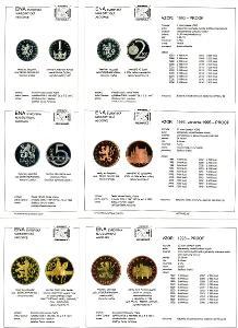 mincovní karty ENA (c) 2016 na platné korunové mince proof - 6 ks