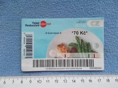 Platidlo cenina neplatná stravenka šek poukaz  70 Kč  Ticket 2018