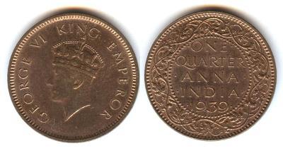BRITISCH - INDIEN - One Quarter ANNA - 1939 - GEORG VI